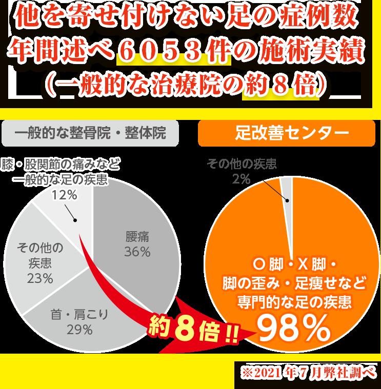 他を寄せ付けない脚の症例数、年間述べ6053件の施術実績(一般的な治療院の約8倍)
